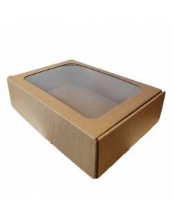 Kartoninė dėžė su PVC langeliu 305x215x80mm (M)