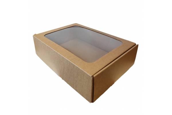 Kartoninė dėžė su PVC langeliu (M) 305x215x80mm