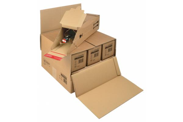 Kartoninė dėžutė buteliams siųsti (1, 3, 6 vnt.) 375x365x250mm