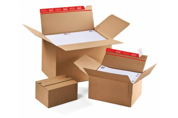 Kartoninės dėžutės siuntoms, reguliuojamu aukščiu 229x164 x 50-115mm
