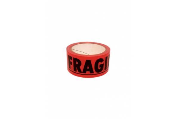 Lipni juosta 48mmx66m raudona, solvent FRAGILE (ypač lipni)B4