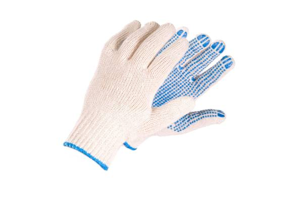 Knitted work gloves with PVC dots