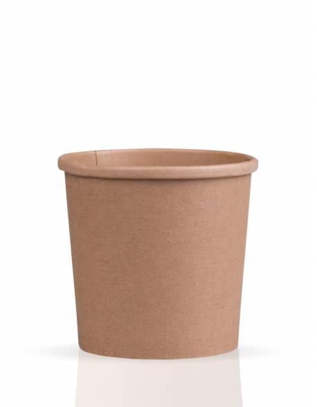 Vienkartinis popierinis indas sriubai rudas 470ml 97x75x100 mm 25vnt./pak.500vnt/dėž