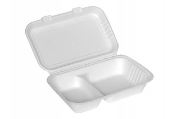Vienkartinė popierinė pietų dėžutė 2 skyrių 250x160x70mm / 50vnt.