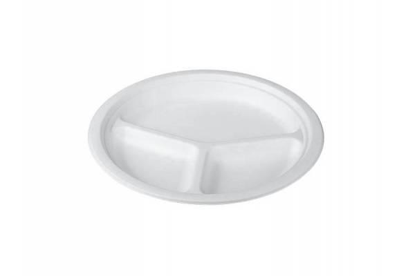 Disposable paper plate 3 compartments Ø260mm / 50pcs.